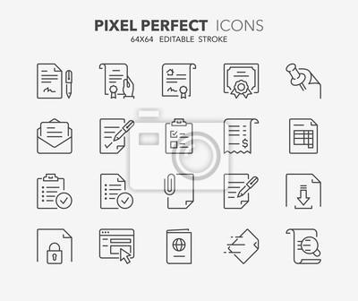 Plakat Dokumenty cienkie ikony linii