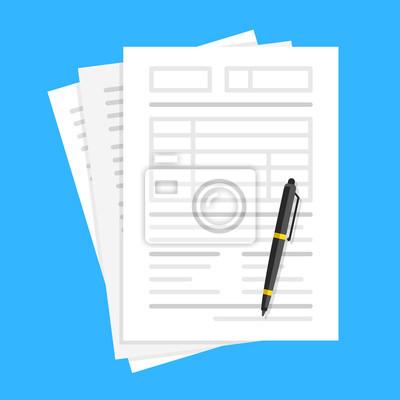Plakat Dokumenty i długopis. Wypełnianie formularzy, dużo papieru, formularz zgłoszeniowy, praca biurowa, księgowość, pomysły na dokumenty. Płaska konstrukcja. Ilustracji wektorowych