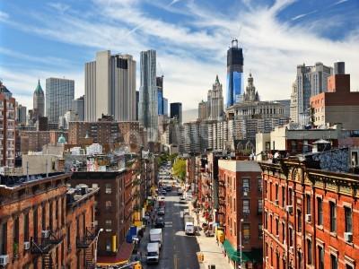 Plakat Dolny Manhattan miasta w Nowym Jorku.