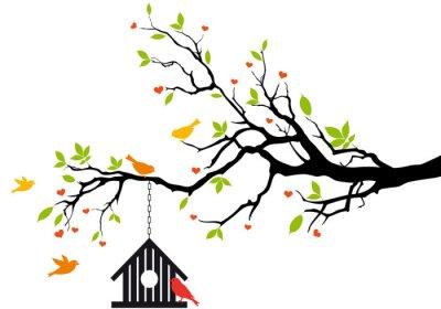 Plakat dom ptaków na wiosnę drzewa, wektor