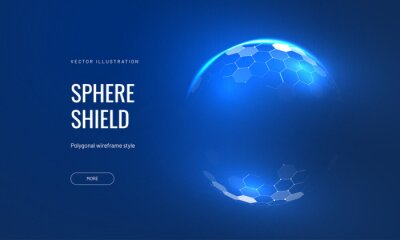 Plakat Dome shield geometric vector illustration on a blue background. Geometric translucent shield futuristic for protection in an abstract glowing style