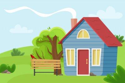 Plakat Domek wiejski w polu. Ilustracja wektorowa płaskie