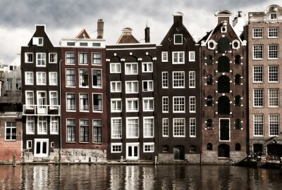 Plakat Domy kanał Amsterdam