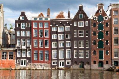 Plakat Domy kanałem w Amsterdamie, Holandia