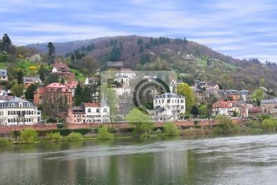 Plakat Domy na brzegu rzeki Neckar w Heidelbergu