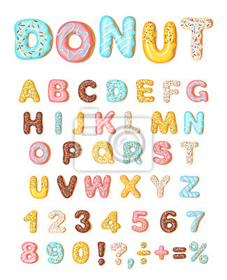 Plakat Donut icing latters, font of donuts. Bakery sweet alphabet. Letters and numbers. Donut alphabet and numbers, isolated on white background