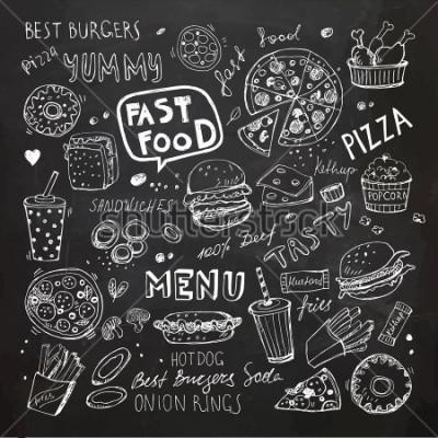 Plakat Doodle fast food. Ręcznie opracowane symbole wektorowe i obiekty