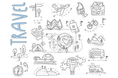 Plakat Doodle set of travel and camping icons. Signpost, air balloon, bike, forest, road, camera, car, map, baggage, camping, hills, tent, trolleybus, train. Vector design