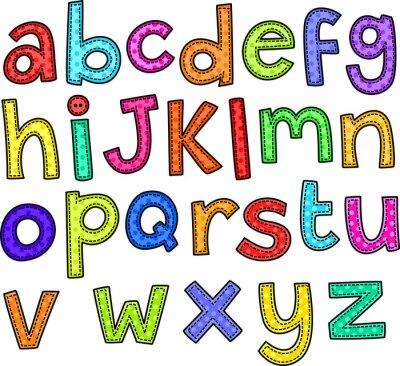 Plakat Doodle styl ściegu zestaw ręcznie rysowane litery alfabetu.