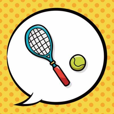 Plakat doodle tenis, dymka