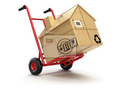 Plakat Dostawy lub przenoszenia houseconcept. wózek z karton A