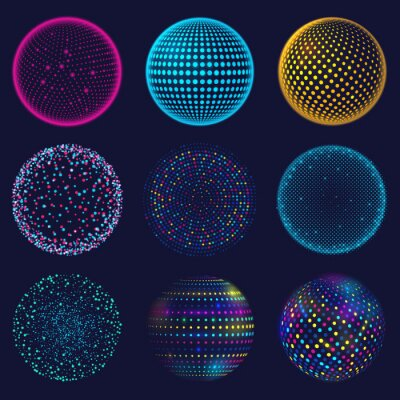 Plakat Dotted neon 3d sphere. Abstract atomic dotted spheres, 3d grid glowing spherical shapes vector illustration set. Digital neon sphere balls