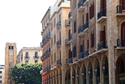 Plakat Downtown Beirut na białym tle