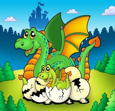Plakat Dragon Mama z dzieckiem w lesie