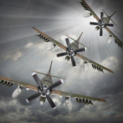 Plakat Dramatyczne sceny na niebie. Stare bombowce przychodzące od słońca.