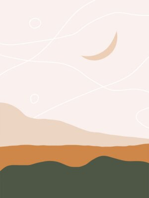 Plakat Drawn landscape with the old moon in abstract form. Trendy vector illustration. Eps 10.