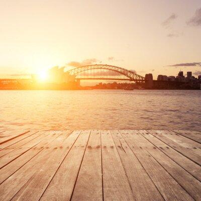Plakat drewnianą deskę i Sydney atrakcje