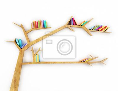 Drewniana Półka Z Kolorowych Gałąź Książek Samodzielnie Na Białym Plakaty Redro