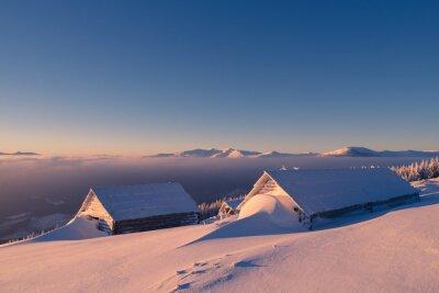 Plakat Drewniane domy w śniegu