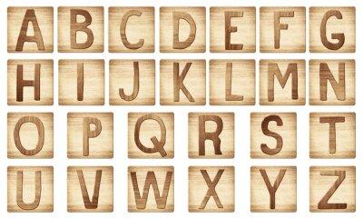 Plakat Drewniane litery alfabetu bloków