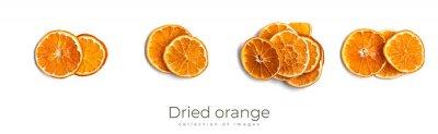 Plakat Dried orange isolated on white background. Orange fruits.