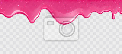 Plakat Dripping glossy pink slime with glitter isolated on transparent background. Border of shiny flowing sticky sweet goo. Vector template of cream, jelly or caramel glaze for cake or donut.