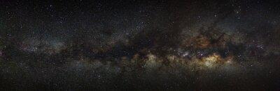 Plakat Droga Mleczna na nocnym niebie, długa ekspozycja fotografii z
