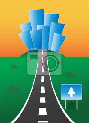 Plakat Droga prowadząca do miasta z napisem w jedną stronę