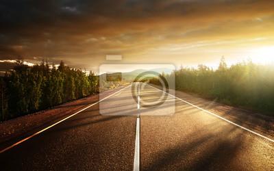 Plakat droga w górach północnych