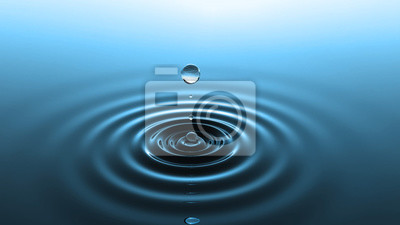 Plakat Drop of water falling into water