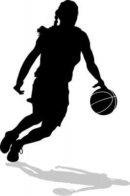 Plakat Drybling Sylwetka Kobieta Basketball Player