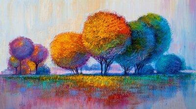 Plakat Drzewa, malarstwo olejne, tło artystyczne