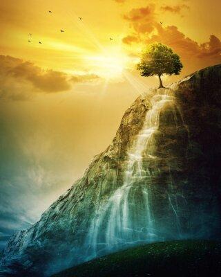 Plakat Drzewa Wodospad