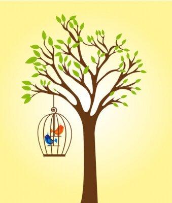 Plakat drzewo z klatki