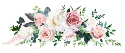 Plakat Dusty pink and cream rose, peony, hydrangea flower, tropical leaves vector garland