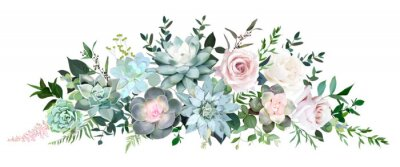 Plakat Dusty pink and cream rose, various echeveria succulents, tropical leaves garland
