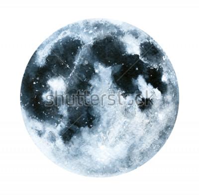 Plakat Duża akwarela ilustracja księżyc. Symbol nowego początku, marzenia, romans, fantasy, magia. Czarne, szare kolory, okrąg, pełny widok. Ręcznie robione malarstwo kolor wody, na białym tle.
