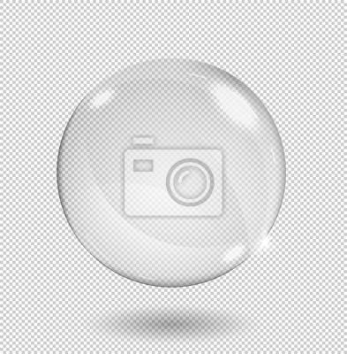 Plakat Duża biała, przezroczysta szklana kula z odblaskami i pasemkami. Przejrzystość tylko w formacie wektorowym.