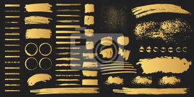 Plakat Duża kolekcja ręcznie rysowanych kształtów rozdarty złote pudełko. Wektor na białym tle. Złote ramki Edge. Trudne pociągnięcia pędzlem, kleksy, obramowania i szorstkie przekładki.