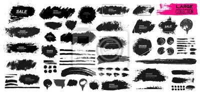 Plakat Duży zestaw czarnych farb, pędzel, pędzel. Brudny element projektu, pudełko, ramki lub tła dla tekstu. Linia lub tekstura. Ilustracji wektorowych. Samodzielnie na białym tle. Puste kształty dla Twojeg