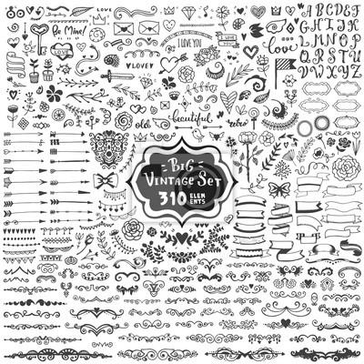 Plakat Duży zestaw elementów zabytkowych