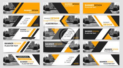 Plakat Duży zestaw poziomych szablonów biznesu banerów. Nowoczesna technologia projektowania