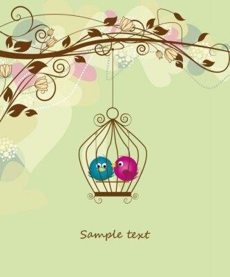 Plakat dwa kolorowe ptaki w klatce