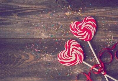 Plakat Dwa lizaków w kształcie serca na Walentynki