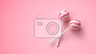 Plakat Dwa słodkie różowe i białe lizaki w paski na patyku na jasnym różowym tle