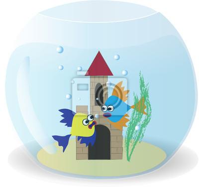 Plakat Dwa słodkie ryby w misce, ilustracji wektorowych