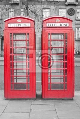 Plakat Dwa typowe London kabiny czerwony telefon z desaturated deseń