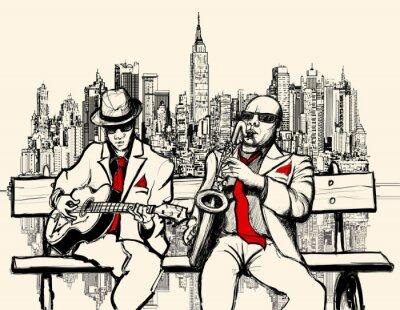 Plakat Dwaj mężczyźni grający jazz w Nowym Jorku
