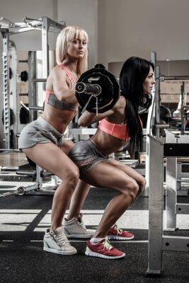 Plakat Dwie piękne dziewczyny pracujące w siłowni