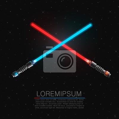 Plakat Dwie przecinające futurystyczne miecze świetlne.